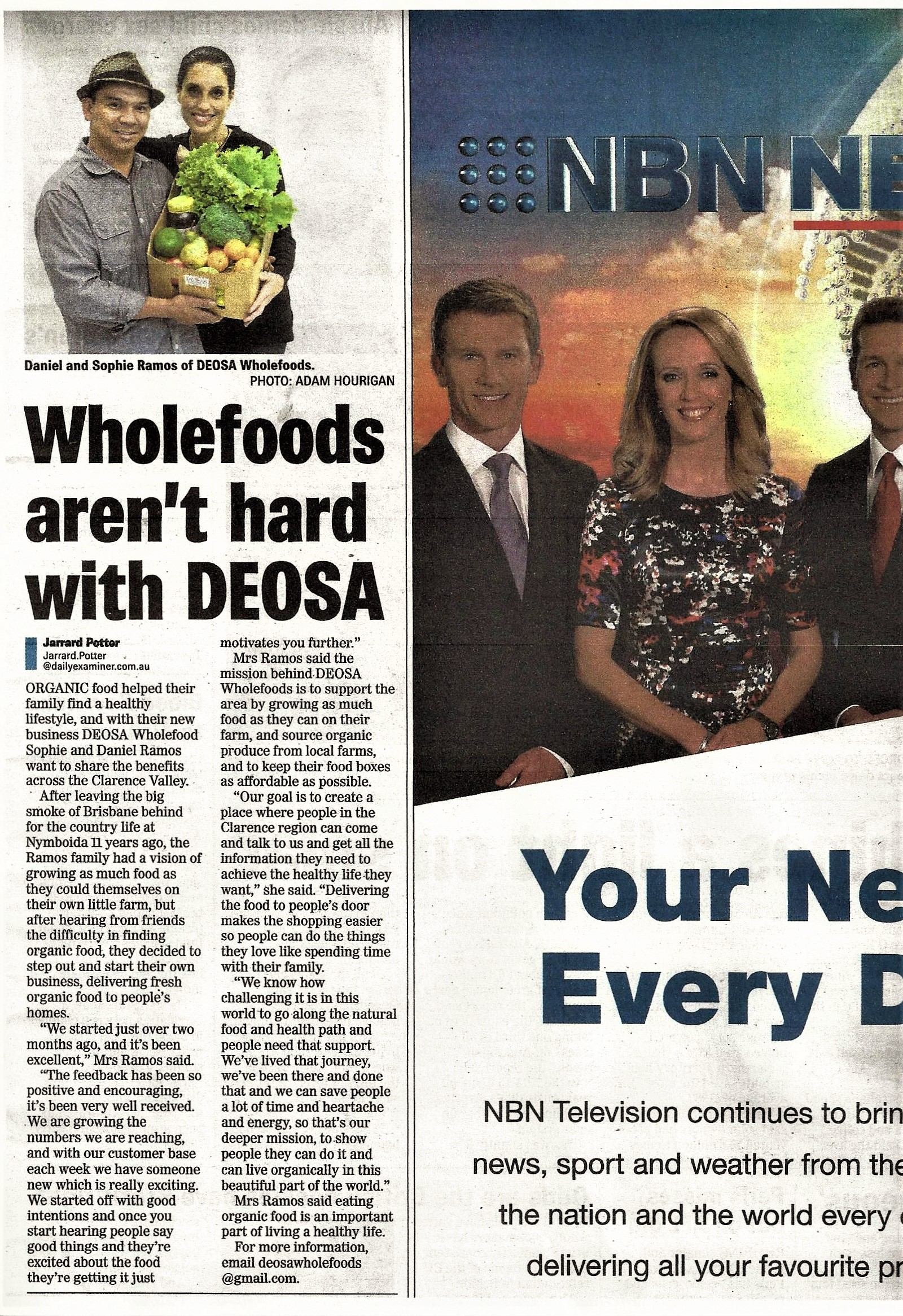 The Daily Examiner Article - DEOSA Wholefoods gets publicity!