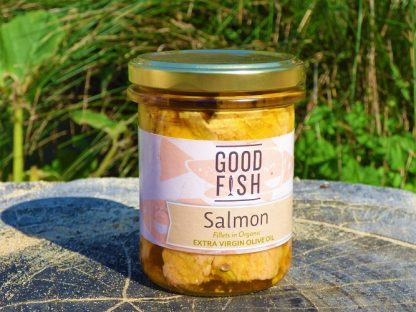 Salmon in Jar 2 1 416x312 - Salmon Fillets in Organic Olive Oil 200g