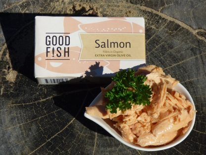Tinned Salmon 2 416x312 - Salmon Fillets in Organic Olive Oil 125g