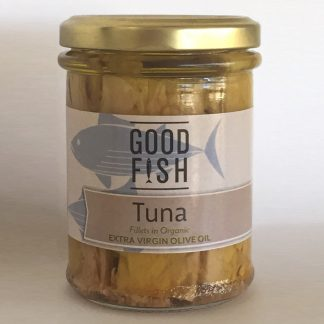 base good fish   skipjack tuna in extra virgin olive oil in glass jar   190g   9336595001001 324x324 - Tuna Fillets in Organic Olive Oil 200g