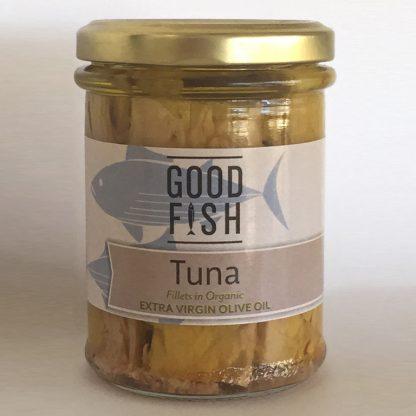 base good fish   skipjack tuna in extra virgin olive oil in glass jar   190g   9336595001001 416x416 - Tuna Fillets in Organic Olive Oil 200g