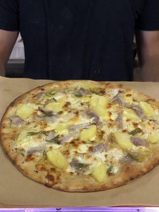 Patata Bianca Pizza 324x432 - Woodfired Organic Pizza - Patata Bianca (potato & ham)