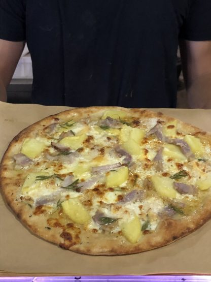 Patata Bianca Pizza 416x555 - Woodfired Organic Pizza - Patata Bianca (potato & ham)