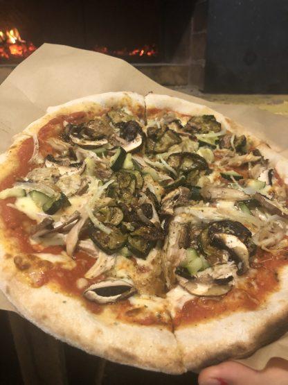 Pollo e Funghi Pizza 416x555 - Woodfired Organic Pizza - Pollo & Funghi (Chicken & Mushroom)