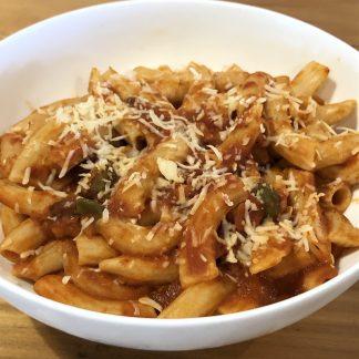 pasta 324x324 - Pasta alla Puttanesca (no parmesan cheese)