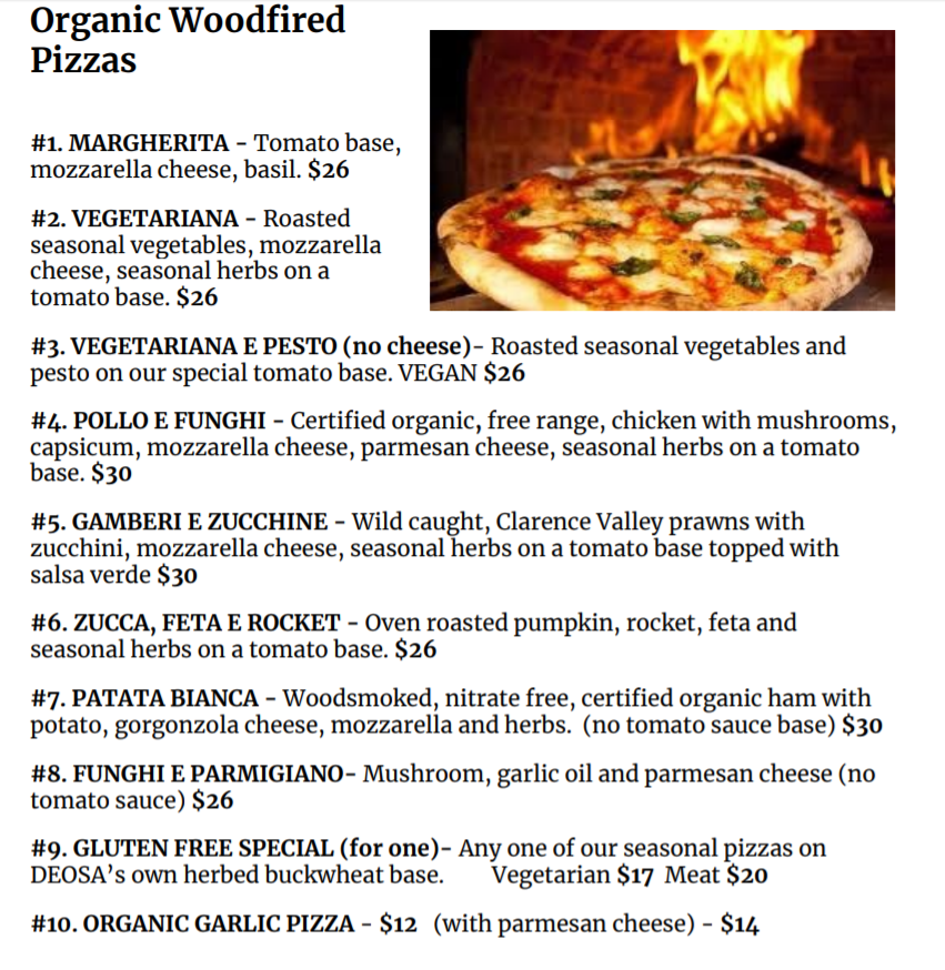 PIZZAS TAKEAWAY 1 - DEOSA Menu & Events