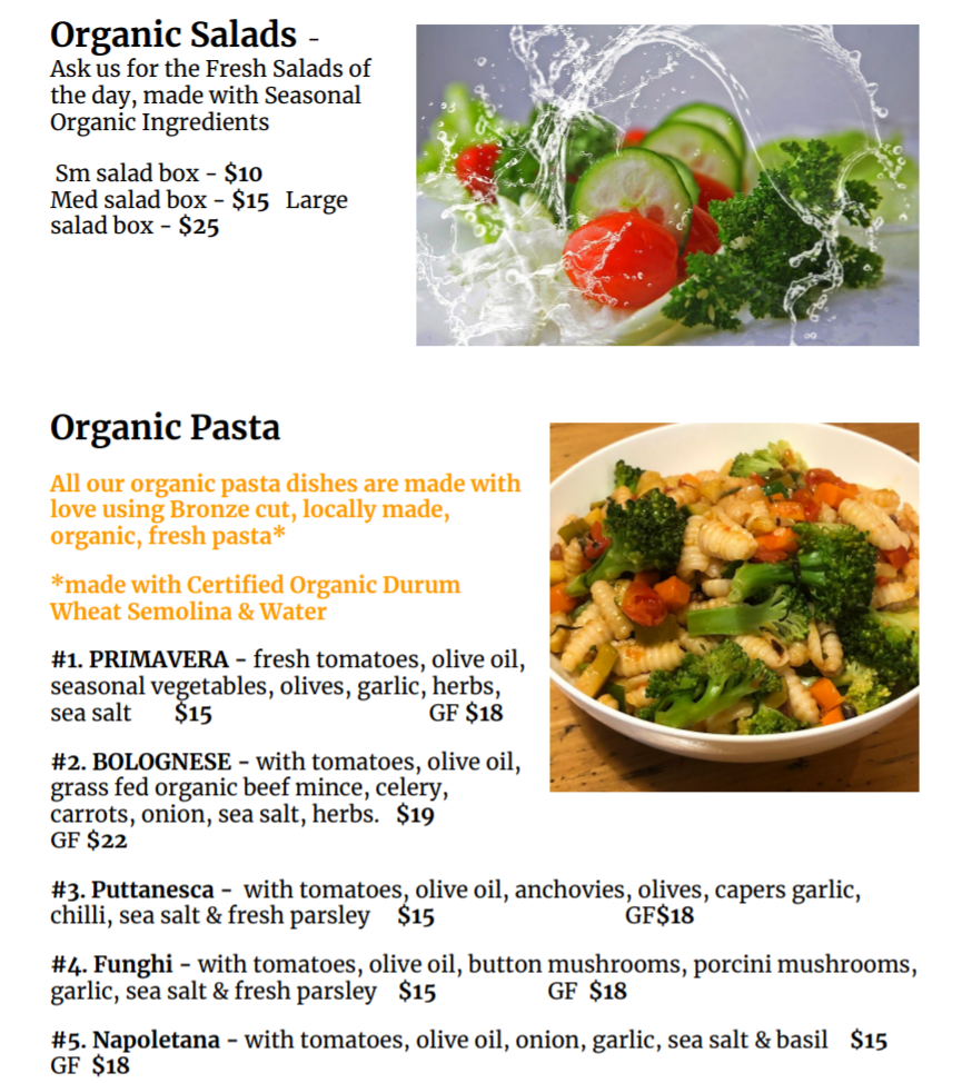 SALADS PASTA - DEOSA Menu & Events